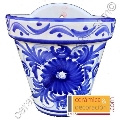 Maceta de colgar flor azul