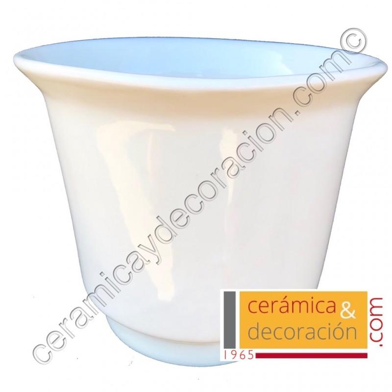 Cubre maceta blanco liso 18 cm