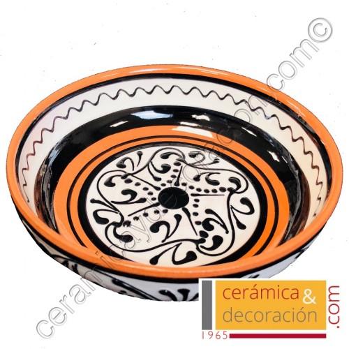 Bandeja de cerámica 16 cm blanco negro