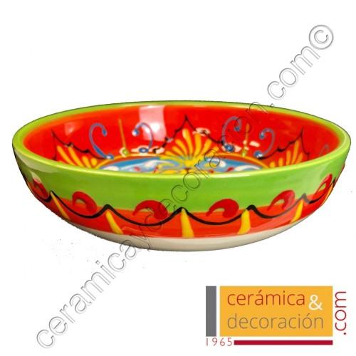 Bandeja de cerámica 16 cm verde naranja
