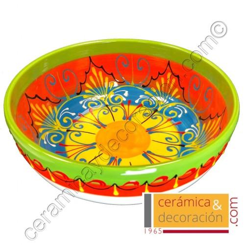 Bol de cerámica 23 cm verde naranja