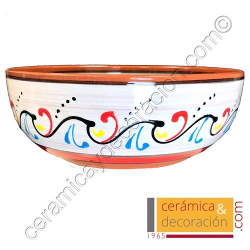 Bol de cerámica 23 cm blanco rojo
