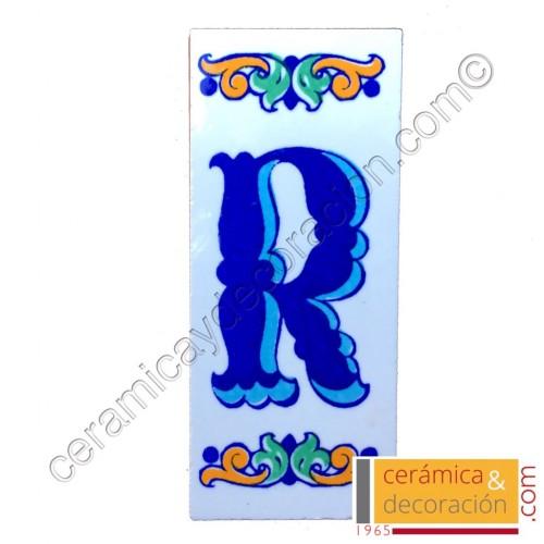 Letra R Cenefa azul