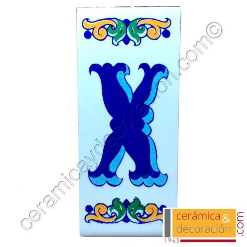 Letra X Cenefa azul