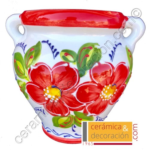 Maceta de pared flor roja