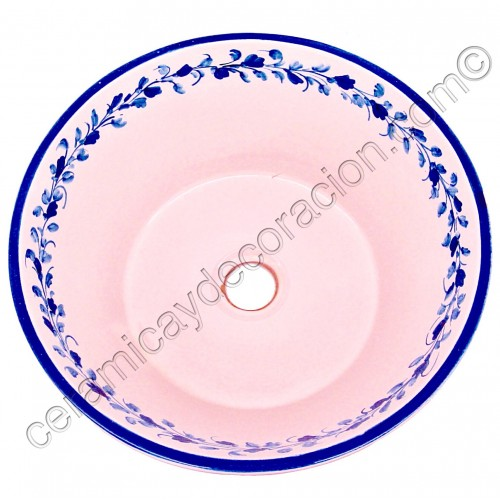 Lavabo lebrillo cenefa azul