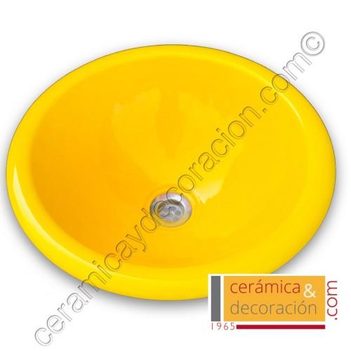 Lavabo redondo amarillo