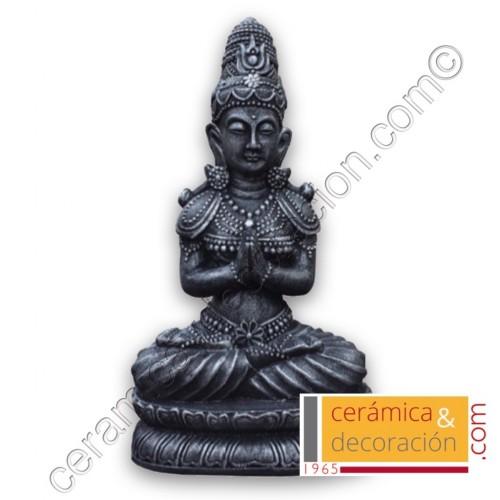 Estatua Buda pedestal negro/plata
