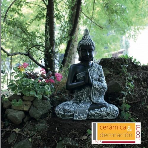 Buda Thai flores negro