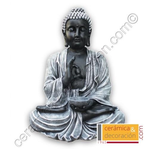 Estatua Buda grande negro/plata