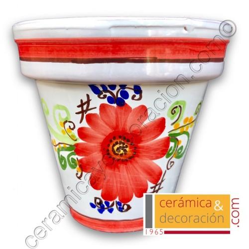 Maceta de suelo flor roja tipo 2