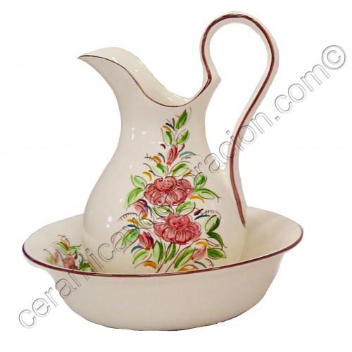 Juego de lavabo flor carmín- verde