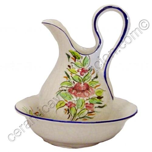 Juego de lavabo flor carmín craquele