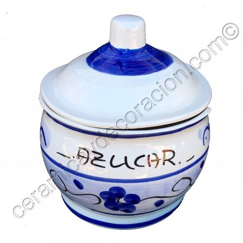 Azucarero azul y blanco