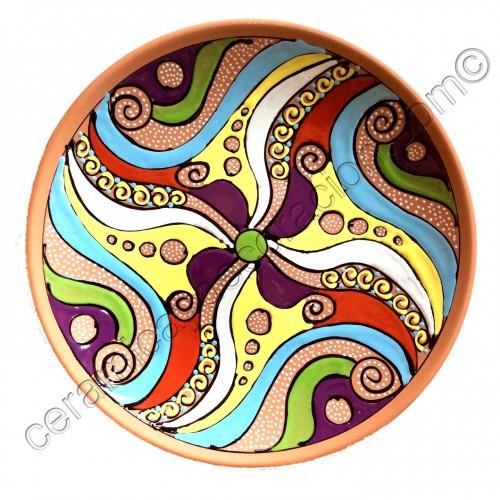 Plato de pared colores 4 pétalos