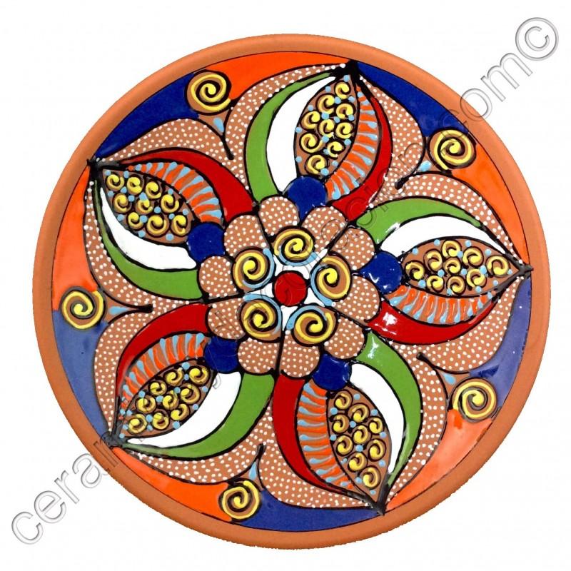 Plato de pared pintado a mano barro cer mica - Platos ceramica colores ...