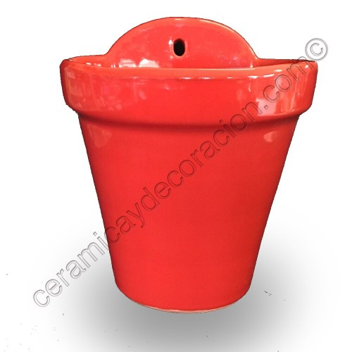 Maceta de colgar roja