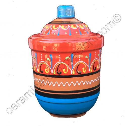 Recipiente cilíndrico con tapa de cerámica colores fantasía.
