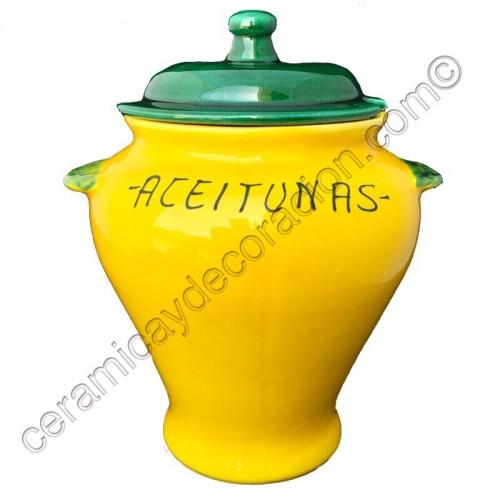Tinaja para aceitunas amarilla