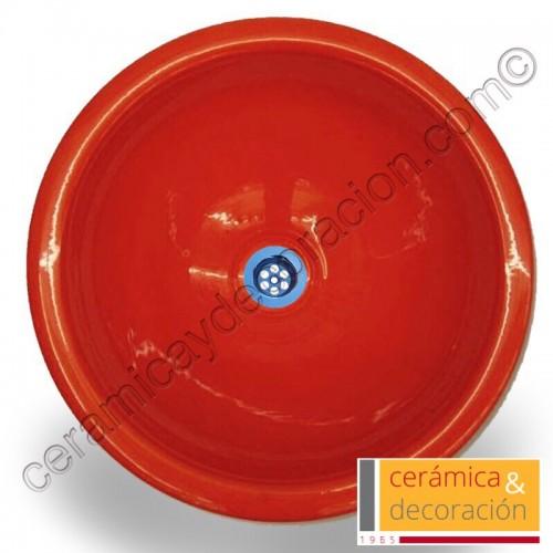 Lavabo redondo rojo