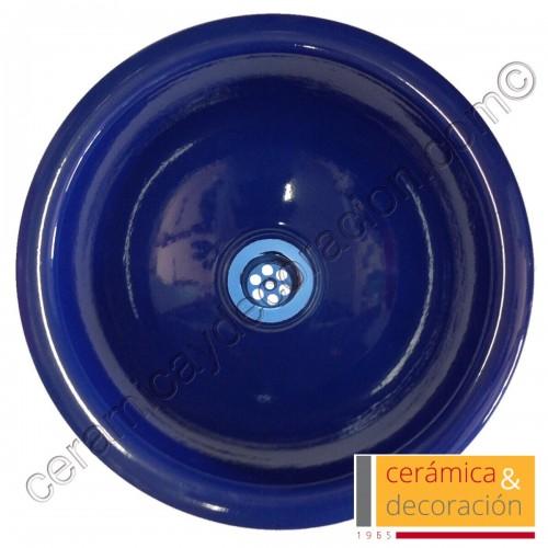 Lavabo redondo azul cobalto