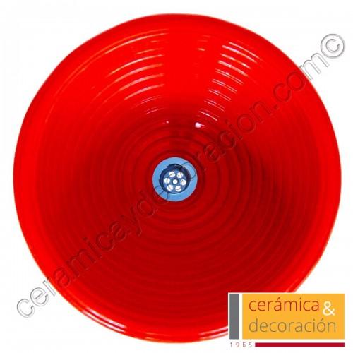 Lavabo rayas rojo