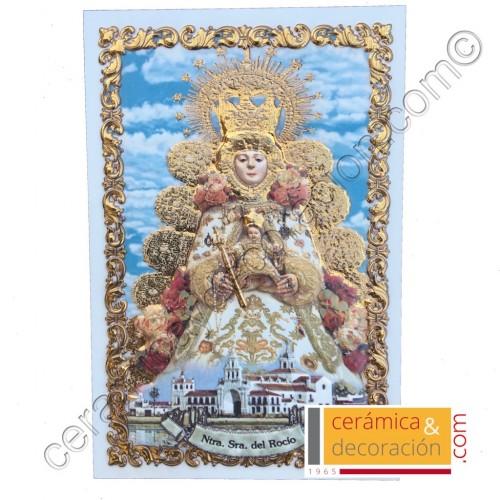 Virgen del Rocío relieve acabada en oro