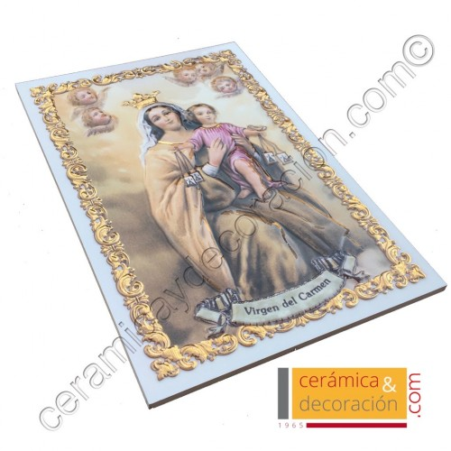 Virgen del Carmen relieve acabada en oro