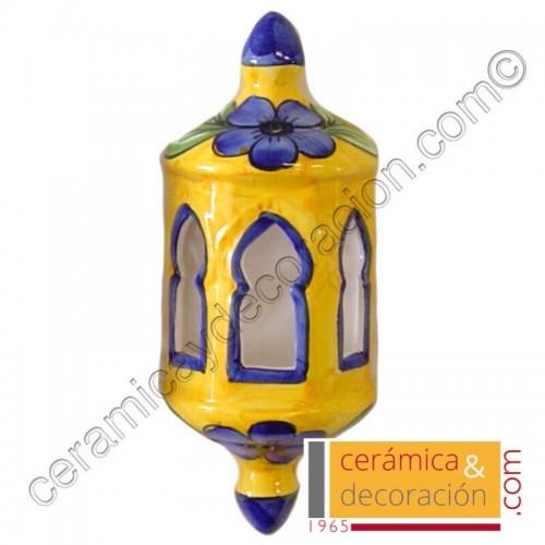 Aplique granada amarillo flor azul