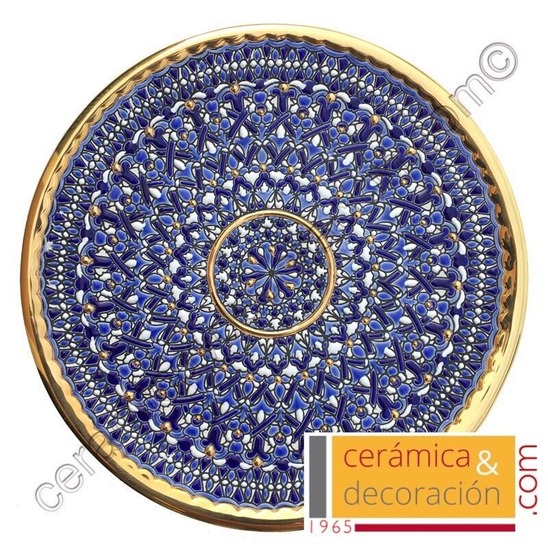 Plato cuerda seca oro 36 cm